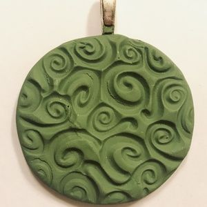 Olive Green Boho Handmade Stamped Clay Pendant Hea